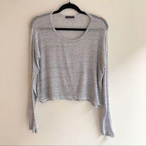 Brandy Melville Long Sleeve Crop Top O/S Grey